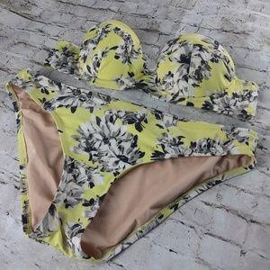 J. Crew Yellow Floral Convertible Demi Bikini